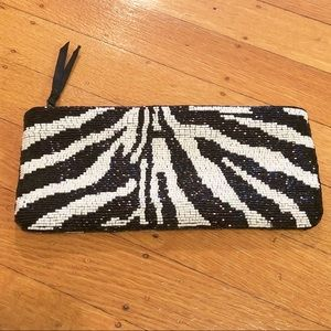 Neiman Marcus Beaded Black & White Zebra Clutch